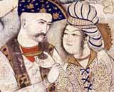 Muhammed Qasim 1627 - Copero - Miniatura iluminada de Shah Abbas I (1571-1629) de  Persia, que abraza a su escanciador de vino - Louvre, París